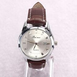 Classic Mens Analog Quartz Watch With Date Comfort PU Leather Band.  USA FAST! $11.98
