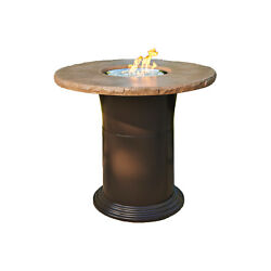 Outdoor Greatroom Colonial Pub Height Fire Pit Table Mocha