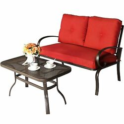 Loveseat Set Chair Bistro Patio Outdoor Garden Coffe Table Furniture Be