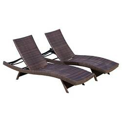 Set of 2 Wicker Adjustable Chaise Lounge Chair - Brown - Christopher Knight Home