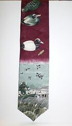 Field & Stream Necktie Tie Duck Hunting Theme 56 X 4 made USA 100% Silk
