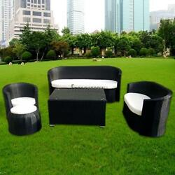 Outdoor Patio Wicker Furniture 5pcs Modern Couch Sofa Set Cafe Living FPAW