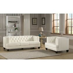 Living Room Furniture Set White 2 Piece Sofa + Chair Leather She Shed Woman Cave