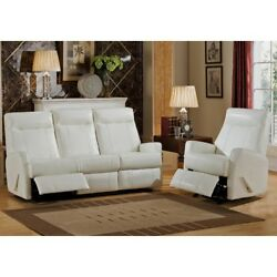 She Shed Woman Cave Living Room Recliner Set White Leather 2 Piece Sofa + Chair
