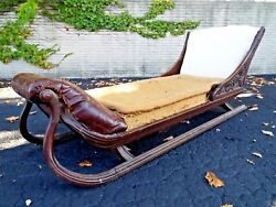 Antique Figural Chaise Lounge Bed Sofa Fainting Couch Psychiatrist Leather 84