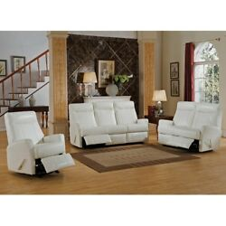She Shed Woman Cave Living Room Recliner Set White Leather 3 Piece Sofa + Chair