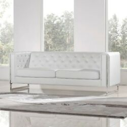 Woman Cave She Shed Sofa White Faux Leather Furniture + Room of Choice Delivery
