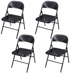 Set Of 4 Folding Chairs Steel Home Office Garden Furniture Portable Black