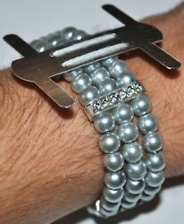 Flower Silver Pearl Bead Corsage Wristlet Band Wristband Stretch Holder Wedding