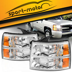 Headlights Assembly for 2007-2014 Chevy Silverado 1500 2500 HD 3500 HD Headlamps