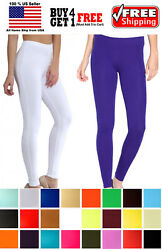 WOMEN SOLID SPANDEX FULL ANKLE LENGTH YOGA LONG STRETCH LEGGINGS SLIM PANTS