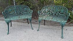 Pair (2) matching Cast Iron Garden Benches Settee Neoclassical Delivery Avail