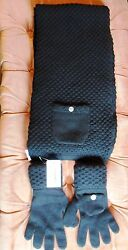 CHANEL Black 100% cashmere knit scarfmuffler and gloves One size NWT