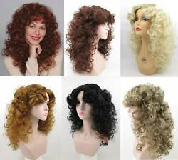 80#x27;S WOMENS LONG MEDIUM LENGTH SOFT WAVY CURLS CURLY HAIR SKIN TOP WIG DELIHLA $32.95