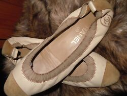 Authentic Chanel Lambskin Leather Ballet Flats w Suede Cap Toe-  39.5 or 8.5