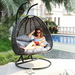 Rattan Hanging Chaise Lounge Chair Double Outdoor Egg Chair W Stand Max 528LBS