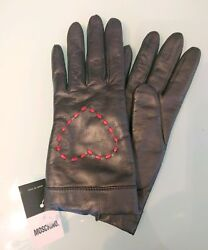 MOSCHINO 6.5 BLACK LEATHER ITALY HEARTS CASHMERE LINED GLOVES AUTHENTIC NWT
