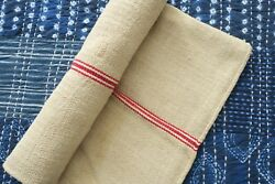 Antique European Hemp Grain Sack Beautiful Red Stripes Multiple Available