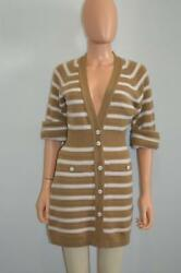 NWT Chanel 15S CamelOff-White Striped Cashmere Long CardiganSweater 34 $3700
