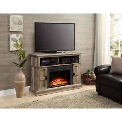 Media Console Electric Fireplace TV Stand Entertainment Center Weathered Rustic