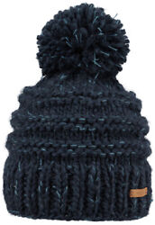 NEW BARTS ADULT BEANIE JASMIN HAT NAVY KNIT POM LADY WOMENS