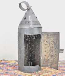Primitive Colonial Punched Tin Paul Revere Candle Lantern American Folk