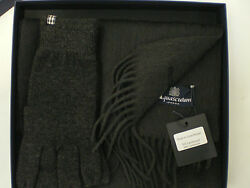 Aquascutum Lambswool Cashmere Scarf Gloves Grey Set