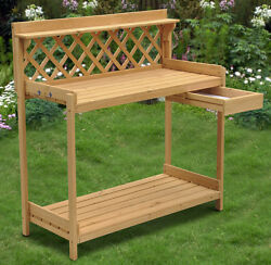 Wood Planter Potting Bench Outdoor Garden Planting Work Station Table USA New