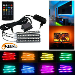 4x RGB LED Home Atmosphere Neon Strip Light Wireless Remote Control Kit Decor