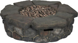 New Large Bond Rock Gas Fireplace Outdoor Fire Pit Round PatioDeck 42
