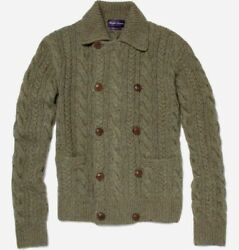 Purple Label Ralph Lauren Men 100% Cashmere Double-Breast Knit Sweater Cardigan