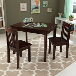 Kidkraft 26639 Kids Wood Avalon Activity Table II & 2 Two Chair Set Espresso NEW