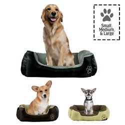 Dog or Cat Pet Bed Rectangle Plush Cuddler Small Medium or Large 3 Colors
