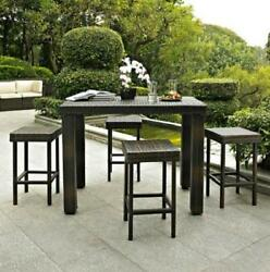 5 Piece Brown Resin Wicker High Bar Height Dining Set Outdoor Patio Furniture