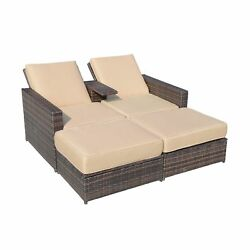 Outsunny Outdoor 3pc Brown PE Rattan Wicker Patio Love Seat Lounge Chair Set