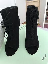 Authentic off White Virgil abloh heels in leather suede black size 37 or 7