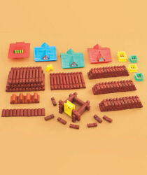 Kid's 200 Pc  Wood Log Building Set Build Cabins Forts Village Creative Play Fun