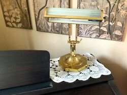 Brass Piano Desk Lamp Adjustable Polished Brass Table Bankers Student Study  $38.21