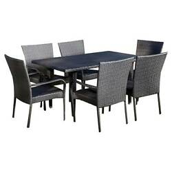 Delani 7pc Wicker Patio Dining Set - Christopher Knight Home