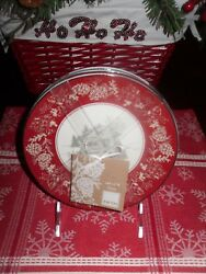222 FIFTH ANDOVER SET4 APPETIZER PLATES CABIN WINTER SCENE CHRISTMAS