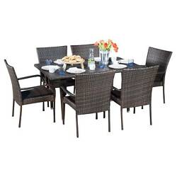 Delani 7pc Wicker Patio Dining Set - Brown - Christopher Knight Home