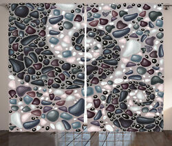 Nature Curtains Mountain Volcanic Stones Window Drapes 2 Panel Set 108x108 Inch