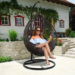 All Weather-Proof Outdoor Wicker Hanging Egg Chair Porch Chair wDurable Stand