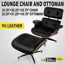 Classic Lounge Chair and Ottoman PU Leather Mid-century design Top Eames Style