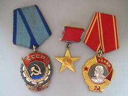 Russian medal & orders & documents.  HERO OF SOCIALIST LABOR and LENIN