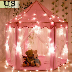 Pink Princess Castle House IndoorOutdoor Kids Play Tent for Girls w LED Lights