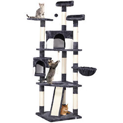 79quot; Large Cat Tree Tower Condo Scratching Post Pet Play House(Gray and White $82.99