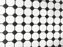 White and Black Mixed Octagon Porcelain Mosaic Floor and Wall SAMPLE SWATCH $4.99