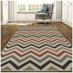 Superior Chevron Collection 8' x 10' Area Rug IndoorOutdoor Rug with Jute and