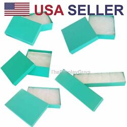 Teal Green Cotton Filled Gift Boxes Jewelry Cardboard Box Lots of 12~25~50~100
